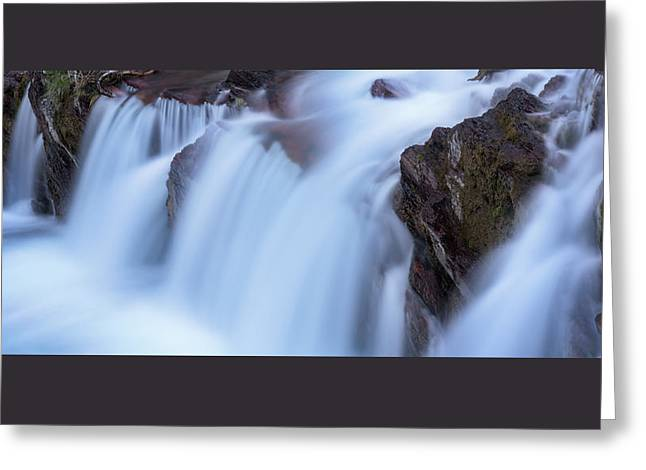 Glacier Greeting Cards - Red Rocks Falls Glacier N P Greeting Card by Steve Gadomski