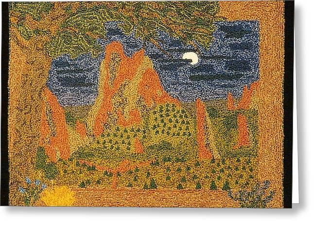Primitive Tapestries - Textiles Greeting Cards - Red Rocks In The Moonlight Greeting Card by Jan Schlieper