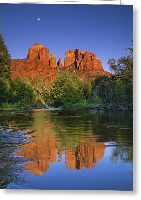 Oak Creek Greeting Cards - Red Rocks Moonrise Greeting Card by Quiet Heart