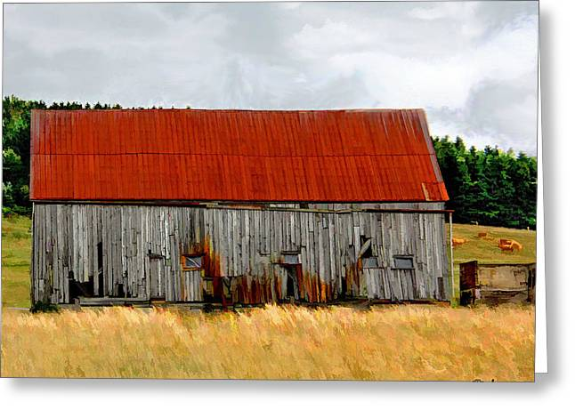 Red Roofed Barn Greeting Cards - Red Roof Barn Nova Scotia Greeting Card by Jake Steele