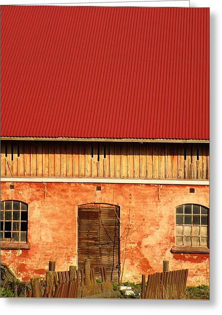 Red Roofed Barn Greeting Cards - Red Roof Beauty Greeting Card by Rosita Larsson