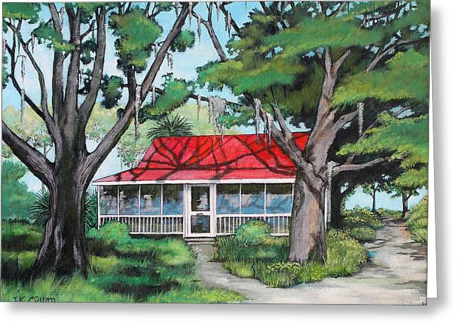 Low Country Cottage Greeting Cards - Red Roof Cottage Greeting Card by John Crum