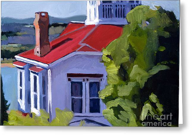 Print On Canvas Greeting Cards - Red Roof House Greeting Card by Deb Putnam