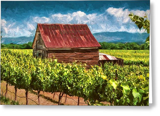 Grapevine Red Leaf Digital Art Greeting Cards - Red Roof Greeting Card by John K Woodruff