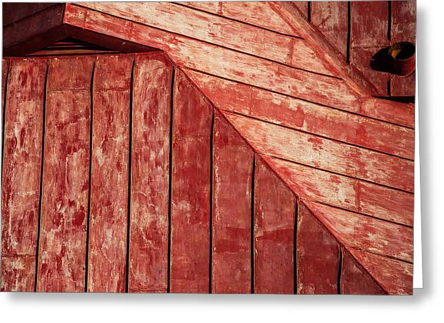 Red Abstracts Greeting Cards - Red Roof Greeting Card by Karol  Livote