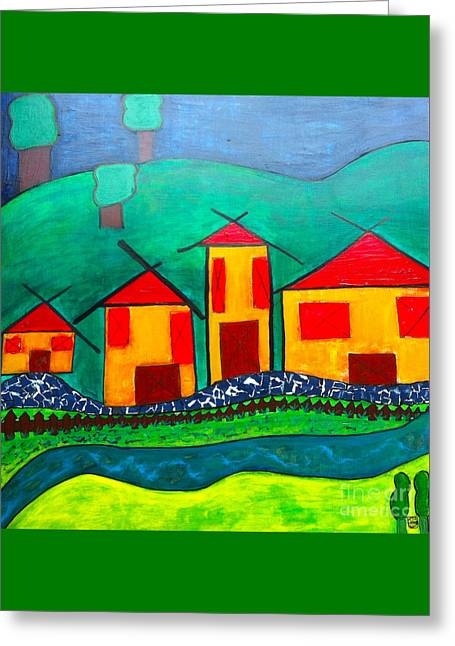 Ply Greeting Cards - Red Roofed Houses  Greeting Card by Kim Magee ART