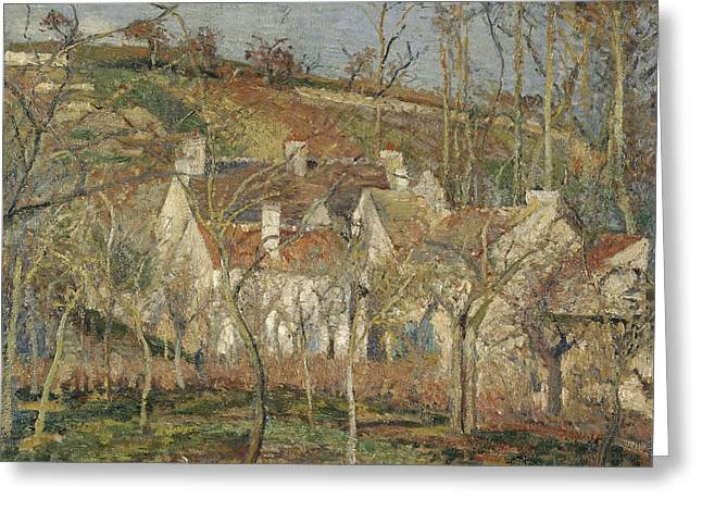 Camille Pissarro Greeting Cards - Red roofs corner of a village winter Greeting Card by Camille Pissarro