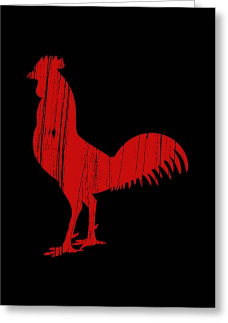 Red Rooster Tee Greeting Card by Edward Fielding