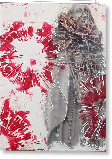 Rosary Mixed Media Greeting Cards - Red Rosary Greeting Card by Kim Quinn Nicholson