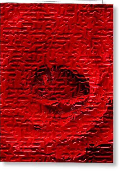 Red Abstracts Greeting Cards - Red Rose Abstract Greeting Card by John Wallace