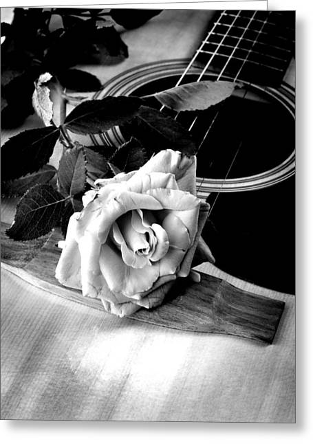 Student Art Greeting Cards - Red Rose Acoustic Guitar Greeting Card by M K  Miller