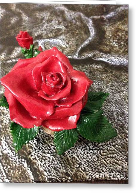 Red Sculptures Greeting Cards - Red roses in the pot Greeting Card by Alexander Gatsaniouk
