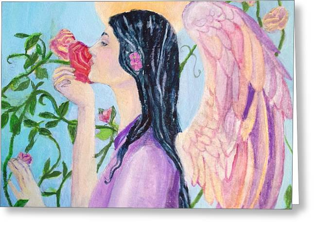 Red Rose Angel 1 Greeting Card by Priscilla Greenbaum