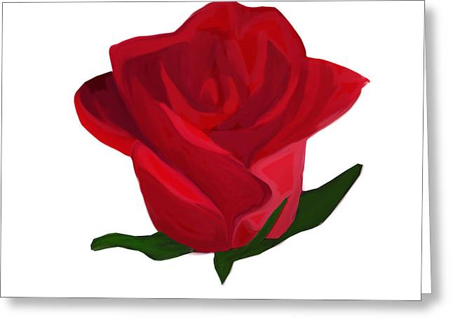 Floral Digital Drawings Greeting Cards - Red Rose Greeting Card by Annalisa Amato