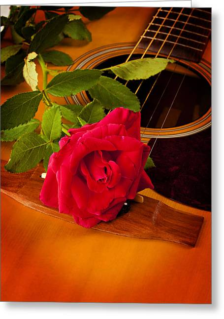 Mac K Miller Greeting Cards - Red Rose Natural Acoustic Guitar Greeting Card by M K  Miller
