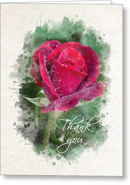 Inside You Greeting Cards - Red Rose Watercolor Thank You Card Greeting Card by Christina Rollo