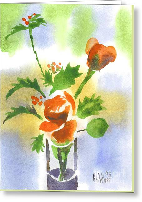 Flour Paintings Greeting Cards - Red Roses with Holly Greeting Card by Kip DeVore