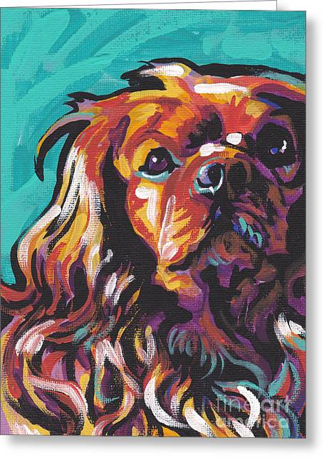 Dog Portraits Greeting Cards - Red Ruby Greeting Card by Lea