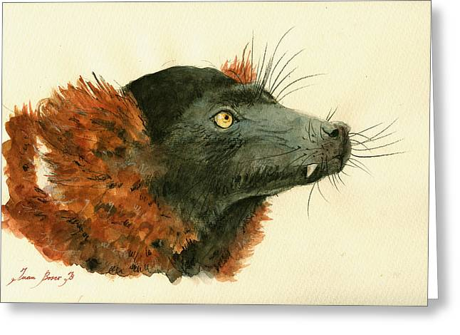 Ruff Greeting Cards - Red ruffed lemur Greeting Card by Juan  Bosco