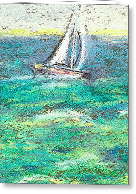 Beach House Pastels Greeting Cards - Red Sail Boat Greeting Card by Anna Donahue