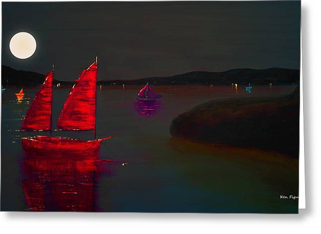 Abstract Waves Greeting Cards - Red Sail Night Greeting Card by Ken Figurski