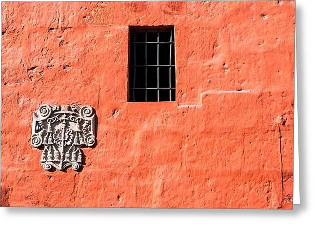 Red Santa Catalina Monastery Wall Greeting Card by Jess Kraft