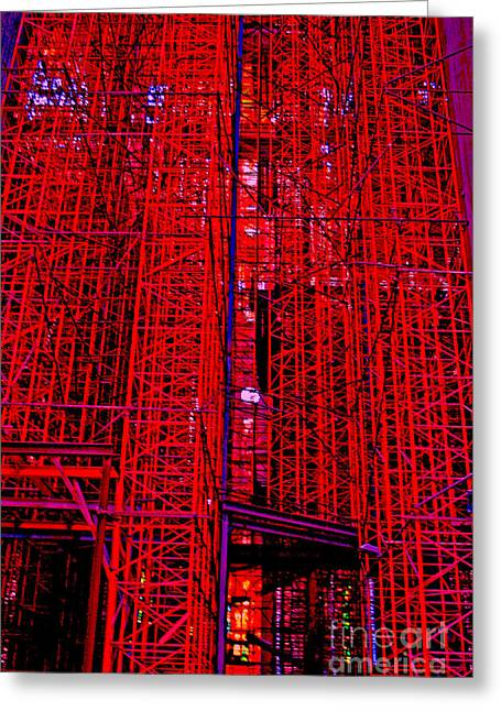 Red Buildings Greeting Cards - Red Scaffold Greeting Card by Andy  Mercer