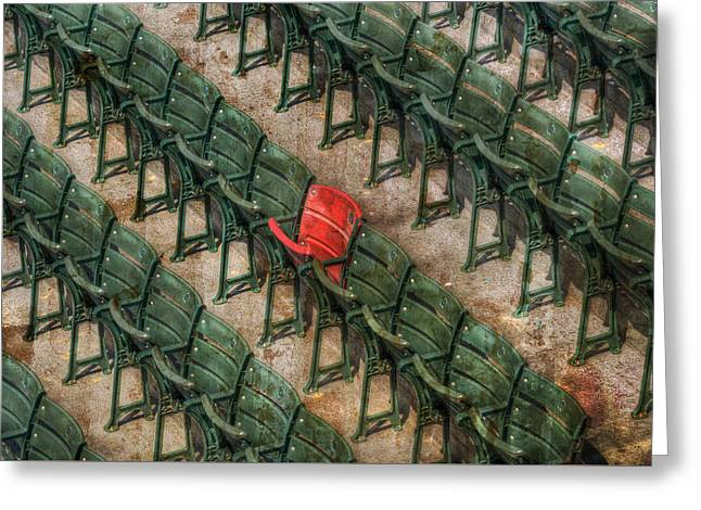 Red Seat At Fenway Park - Boston Greeting Card by Joann Vitali