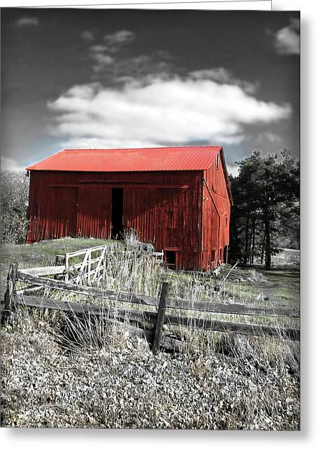 Red Shack Landscape Greeting Card by Joan  Minchak