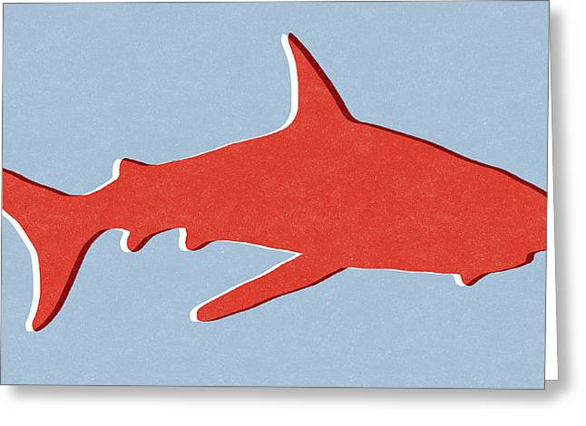 Red Shark Greeting Card by Linda Woods