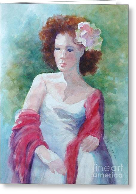 Red Shawl Greeting Card by Marilyn Jacobson