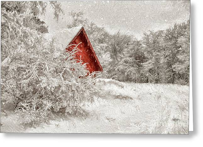 Red Shed In The Snow Greeting Card by Lois Bryan