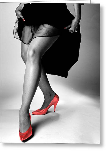 Figure Study Greeting Cards - Red Shoes Greeting Card by Jerry Taliaferro