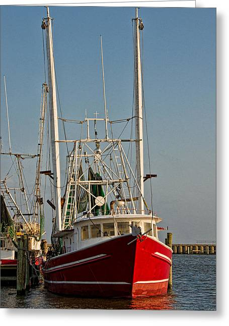 Fishing Boats Greeting Cards - Red Shrimp Boat Greeting Card by Christopher Holmes