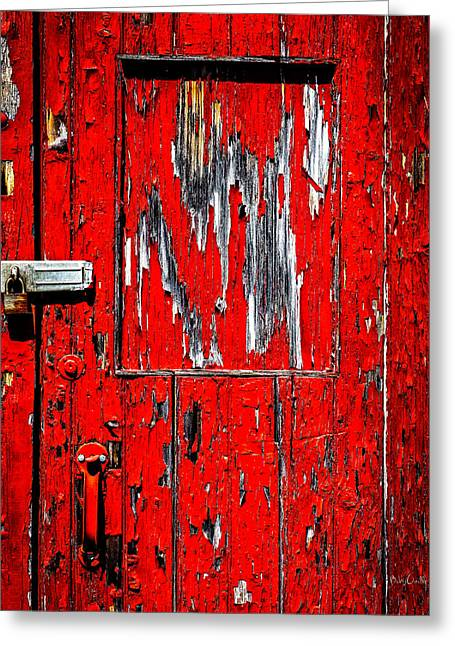 Grunge Greeting Cards - Red Side Barn Door Greeting Card by Bob Orsillo