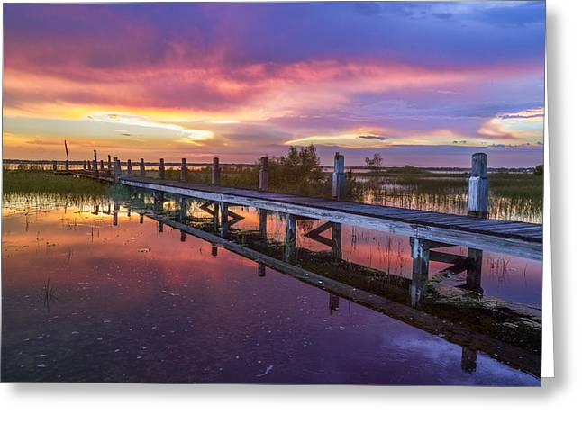 Reflection In Water Greeting Cards - Red Sky at Night Greeting Card by Debra and Dave Vanderlaan