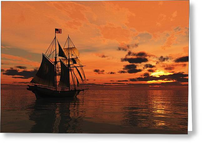Schooner Digital Greeting Cards - Red Sky at Night Greeting Card by Timothy McPherson