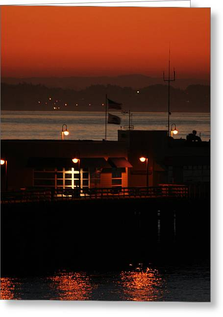 Santa Cruz Wharf Greeting Cards - Red Sky In The Morn Greeting Card by Holly Ethan