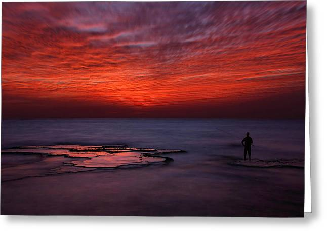 Painterly Greeting Cards - Red Sky Greeting Card by Itay Gal