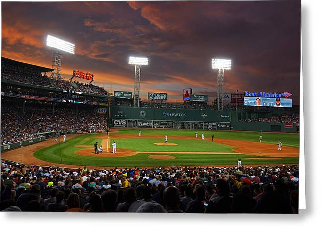 Fenway Park Greeting Cards - Red Sky over Fenway Park Greeting Card by Toby McGuire