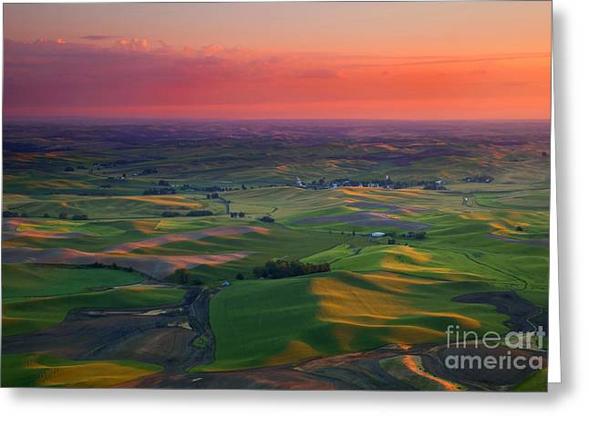Rolling Hills Greeting Cards - Red Sky Palouse Greeting Card by Mike Dawson