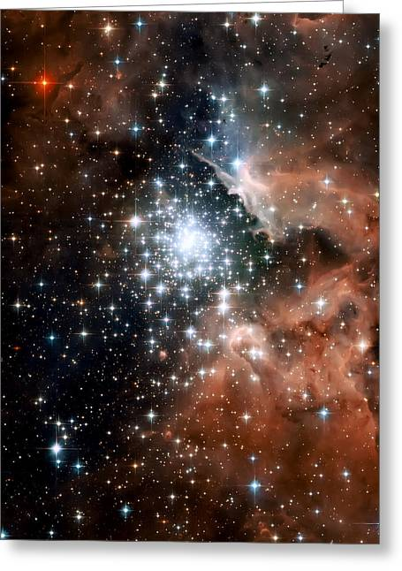 Hubble Telescope Photographs Greeting Cards - Red Smoke Star Cluster Greeting Card by The  Vault - Jennifer Rondinelli Reilly