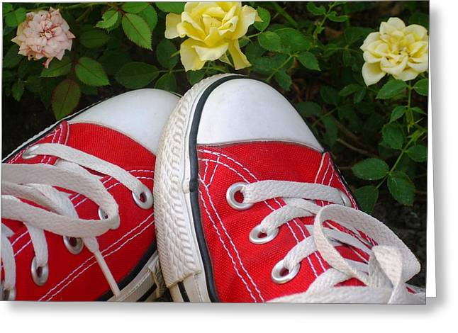 Sneaker Lace Greeting Cards - Red Sneakers Greeting Card by Torie Beck