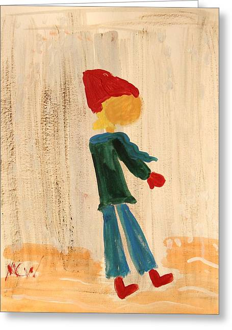 Red Snow Hat Greeting Card by Mary Carol Williams