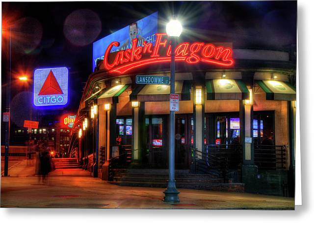 Red Sox Art - Cask N Flagon - Citgo Sign Greeting Card by Joann Vitali
