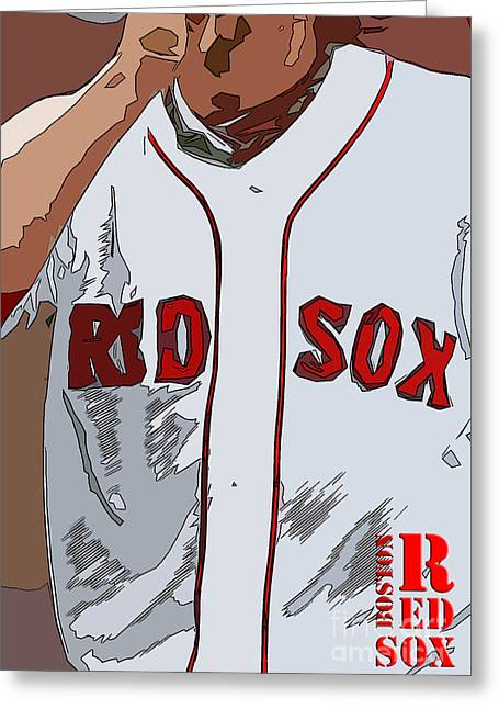 Red Sox Baseball Team White And Red Greeting Card by Pablo Franchi