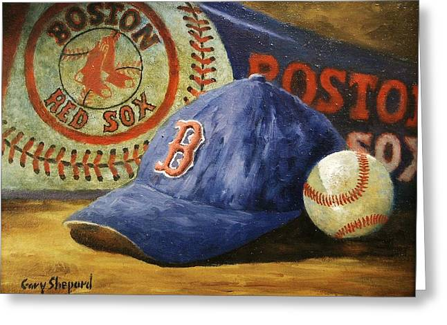Red Sox Paintings Greeting Cards - Red Sox Nation Greeting Card by Gary Shepard