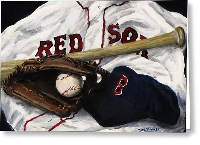Glove Greeting Cards - Red Sox number nine Greeting Card by Jack Skinner