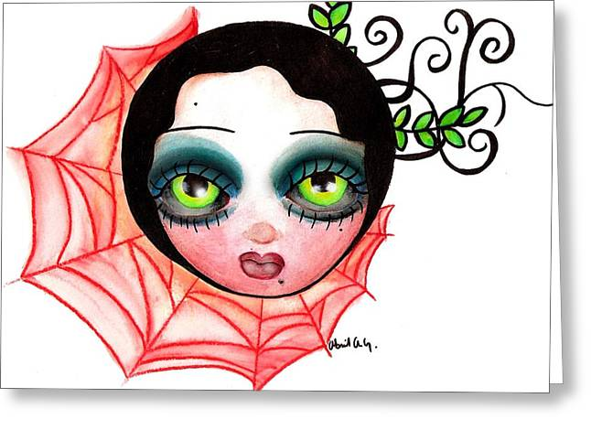 Tattoo Flash Paintings Greeting Cards - Red Spider Web Greeting Card by  Abril Andrade Griffith
