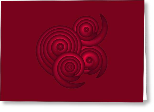 Red Spirals Greeting Card by Frank Tschakert
